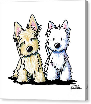 Kiniart Terrier Duo Canvas Print by Kim Niles