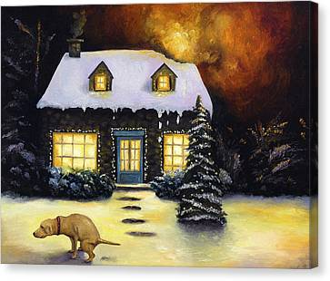 Christmas Dog Canvas Print - Kinkade's Worst Nightmare by Leah Saulnier The Painting Maniac