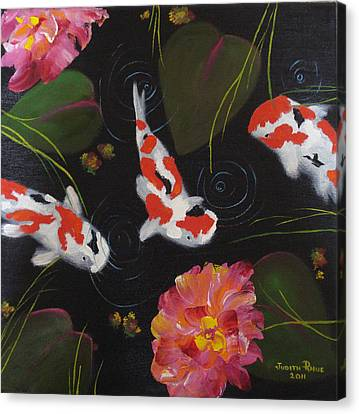 Canvas Print featuring the painting Kippycash Koi by Judith Rhue