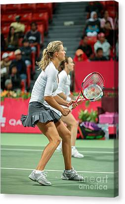 Kirilenko And Hingis In Doha Canvas Print by Paul Cowan