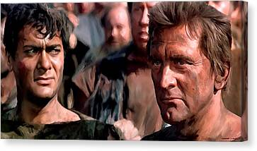 Kirk Douglas And Tony Curtis In The Film Spartacus Canvas Print
