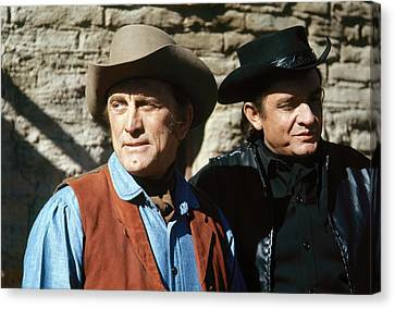 Canvas Print featuring the photograph Kirk Douglas Johnny Cash A Gunfight  Old Tucson Arizona 1971 by David Lee Guss