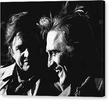 Canvas Print featuring the photograph Kirk Douglas Laughing Johnny Cash Old Tucson Arizona 1971 by David Lee Guss