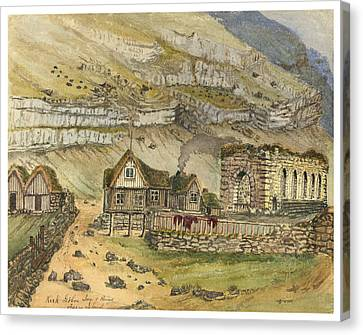 Kirk G Boe Inn And Ruins Faroe Island Circa 1862 Canvas Print by Aged Pixel