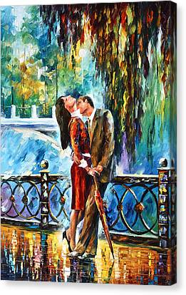 Kiss After The Rain New Canvas Print by Leonid Afremov