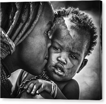 Caring Mother Canvas Print - Kiss From Beautiful Himba Mom by Pavol Stranak