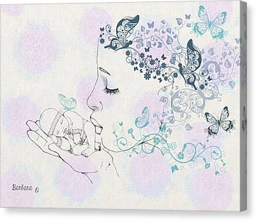 Kiss To A New Born Canvas Print by Barbara Orenya