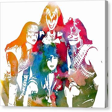Kiss Watercolor Pop Art Canvas Print