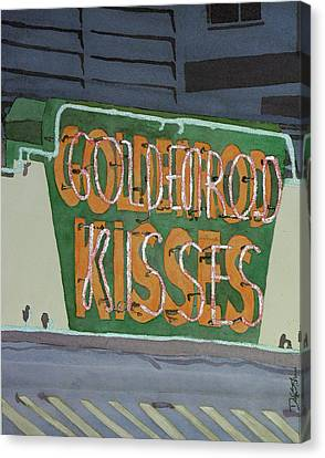 Kisses Neon Sign Canvas Print by Daryl Shaw