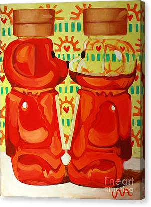 Kissing Bears Canvas Print by Jayne Morgan