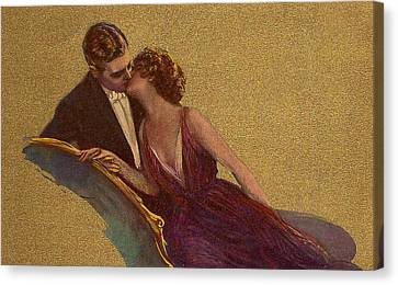 Kissing On The Chaise-longue Valentine Canvas Print by Sarah Vernon
