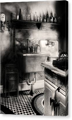 Kitchen - An Old Kitchen Canvas Print by Mike Savad