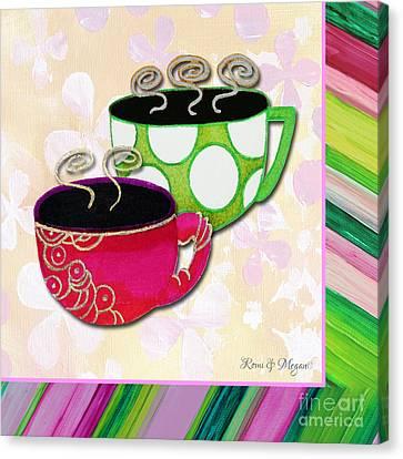 Kitchen Cuisine Tea Party Napkin Design 1 By Romi And Megan Canvas Print by Megan Duncanson