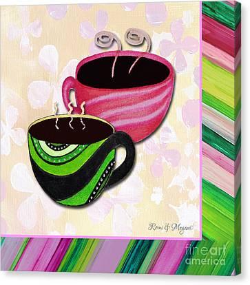 Kitchen Cuisine Tea Party Napkin Design 3 By Romi And Megan Canvas Print by Megan Duncanson