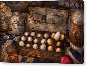 Kitchen - Food - Eggs - 18 Eggs  Canvas Print by Mike Savad