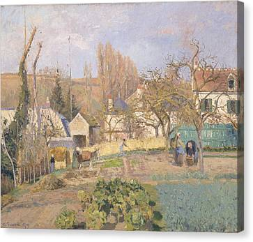 Kitchen Garden At The The Lhermitage, Pontoise, 1874 Oil On Canvas Canvas Print by Camille Pissarro