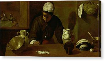 Kitchen Maid With The Supper At Emmaus, C.1618 Oil On Canvas Canvas Print by Diego Rodriguez de Silva y Velazquez