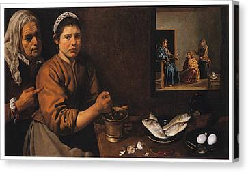 Kitchen Scene With Christ In The House Of Martha And Mary Canvas Print
