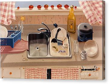 Kitchen Sink Bubba Lees 1997  Skewed Perspective Series 1991 - 2000 Canvas Print by Larry Preston