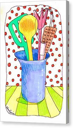 Toon Canvas Print - Kitchen Tools by Linda Blondheim