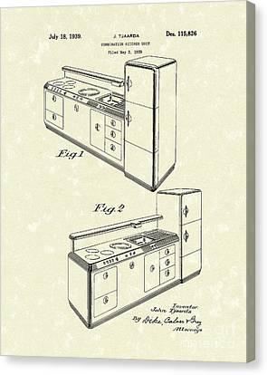 Kitchen Unit 1939 Patent Art Canvas Print