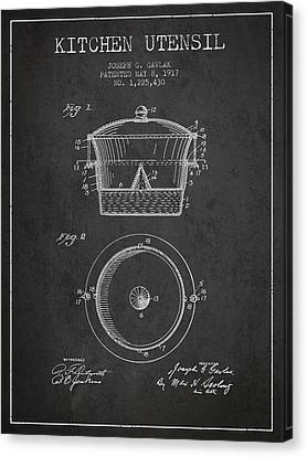 Kitchen Utensil Patent From 1917 - Dark Canvas Print by Aged Pixel