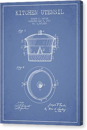 Kitchen Utensil Patent From 1917 - Light Blue Canvas Print by Aged Pixel