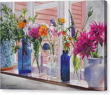 Kitchen Window Sill Canvas Print by Karol Wyckoff