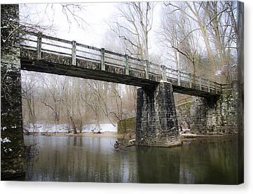 Kitchens Lane Bridge Over The Wissahickon Creek Canvas Print by Bill Cannon
