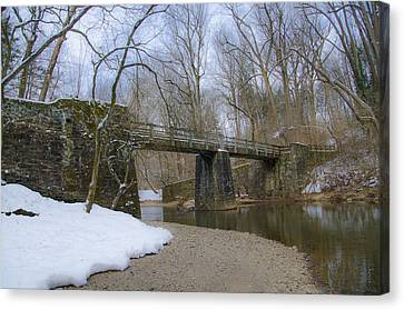 Kitchens Lane Foot Bridge Over The Wissahickon Canvas Print by Bill Cannon