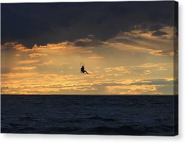 Kite Boarding West Meadow Beach New York Canvas Print