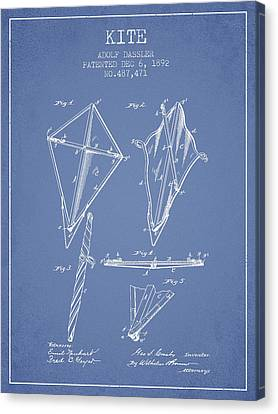 Kite Patent From 1892 - Light Blue Canvas Print by Aged Pixel