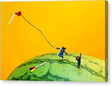 Kite Runner On Watermelon Canvas Print by Paul Ge