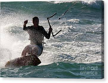 Kite Surfer 01 Canvas Print by Rick Piper Photography
