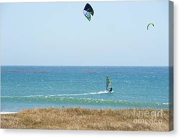 Kite Surfing And Wind Surfing Central Coast San Simeon California Canvas Print