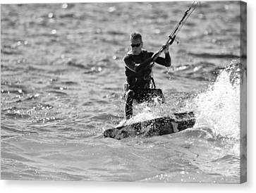 Kite Surfing Black And White Canvas Print