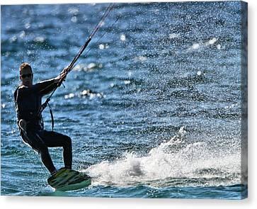 Kite Surfing Splash Canvas Print by Dan Sproul