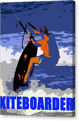 Kiteboarder Blue Smartphone  Canvas Print by David Lee Thompson
