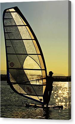 Canvas Print featuring the photograph Kiteboarder Sunset by Sonya Lang