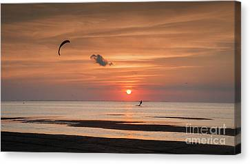 Kiteboarding At Sunset Canvas Print by Tammy Smith