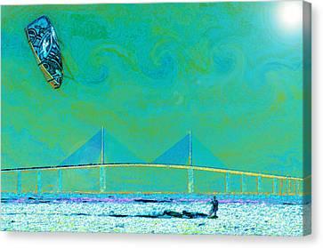 Kiteboarding The Bay Canvas Print