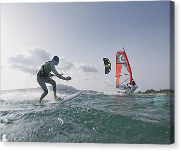 Kitesurfer And Windsurfer Canvas Print by Ben Welsh