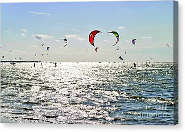 Kitesurfing In The Sun Canvas Print