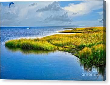Kitesurfing On Ocracoke Outer Banks Canvas Print by Dan Carmichael