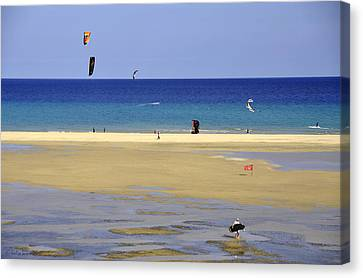 Canvas Print featuring the photograph Kitesurfing Spot And Beach View At Melia Gorionez  by Julis Simo
