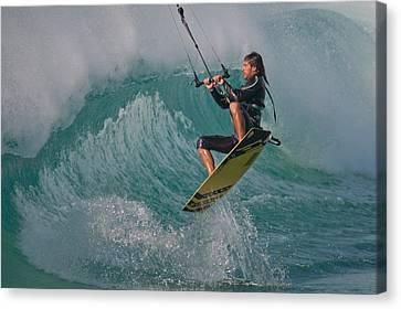 Kiting Los Lances Canvas Print by AJM Photography