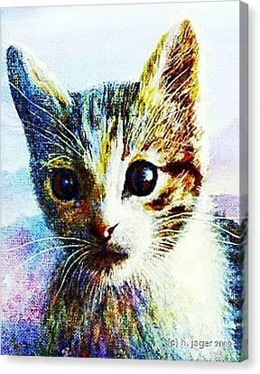 Canvas Print featuring the painting Kitten  Close by Hartmut Jager