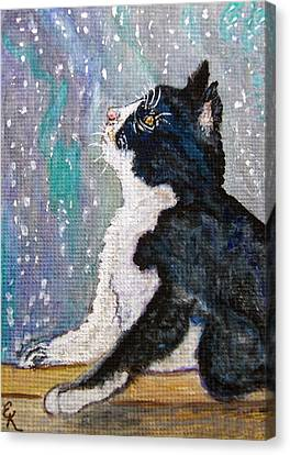 Canvas Print featuring the painting Kitten In The Window by Ella Kaye Dickey