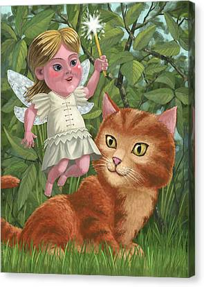 Kitten With Girl Fairy In Garden Canvas Print by Martin Davey
