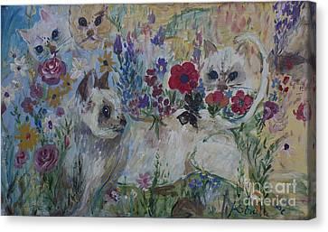 Kittens In Wildflowers Canvas Print